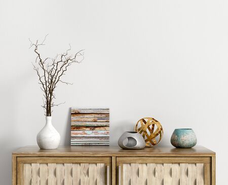 Interior decoration, wooden shelf with branch in vase, interior background 3d rendering