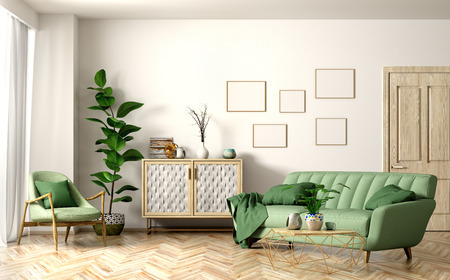 Modern interior of living room with green sofa and armchair, wooden door and cabinet, home design 3d rendering