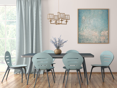 Interior of modern dining room, blue table and chairs against white wall with big window and curtain 3d rendering