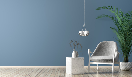 Interior of living room with marble coffee table, white lamp and gray armchair against blue wall with copy space 3d rendering Stockfoto