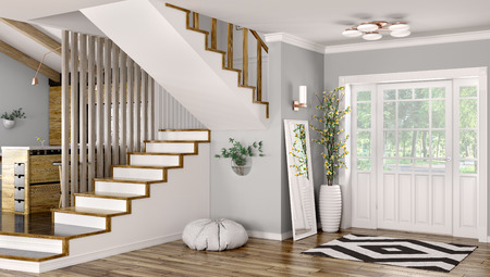Interior of modern entrance hall with door and staircase 3d rendering Stockfoto