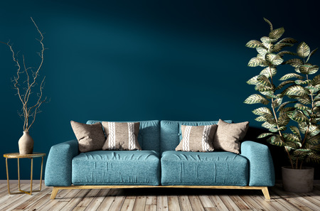 Modern interior of living room with turquoise sofa, home plant and vse with branch against blue wall 3d rendering