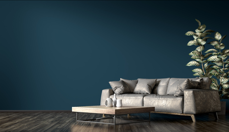 Modern interior design of living room with gray leather sofa against dark blue wall 3d rendering 写真素材