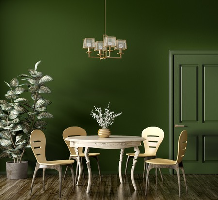 Interior of modern dining room, wooden classic table and yellow chairs against dark green wall with door 3d rendering Imagens