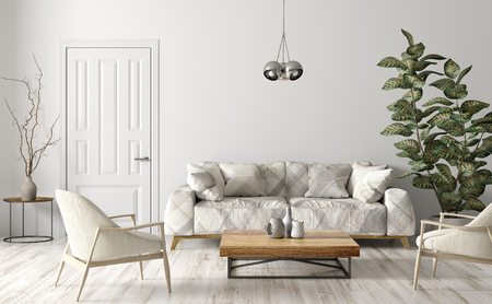 Modern interior design of living room with sofa, beige armchairs, wooden coffe table, door against white wall 3d rendering