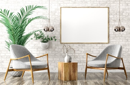 Modern interior design of living room with two gray armchairs, wooden coffee table and poster on the brick wall 3d rendering 写真素材