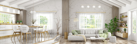 Modern interior of house, living room with grey sofa, wooden kitchen and dining room, panorama 3d rendering