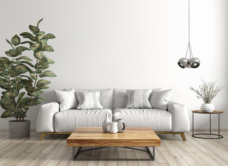 Modern interior design of living room with sofa, wooden coffe table, against white wall 3d rendering