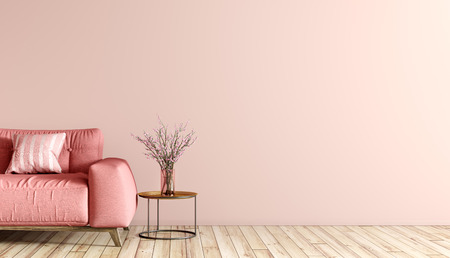 Modern interior of living room with pink sofa and coffee table with flower branch, wall with copy space 3d rendering 写真素材