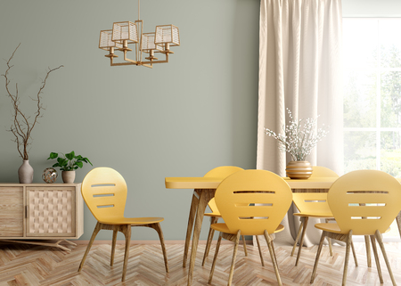 Interior of modern dining room, yellow table and chairs against green wall with big window and curtain 3d rendering 写真素材