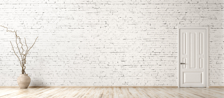 Empty room interior background, white brick wall, vase with branch and door, panorama 3d rendering 写真素材