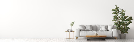 Interior of living room with white sofa, coffee table and plant panorama 3d rendering 写真素材
