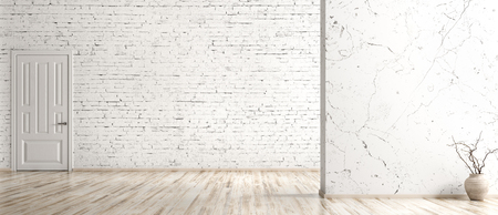 Empty room interior background, white brick wall, vase with branch on the hardwood floor and door, panorama 3d rendering