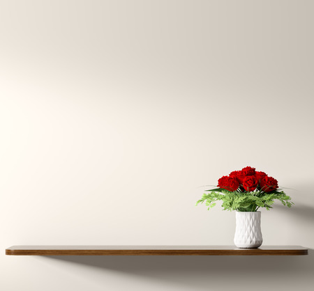 Brown wooden shelf with bouquet of red roses in white vase over beige wall, home decor, interior background 3d rendering