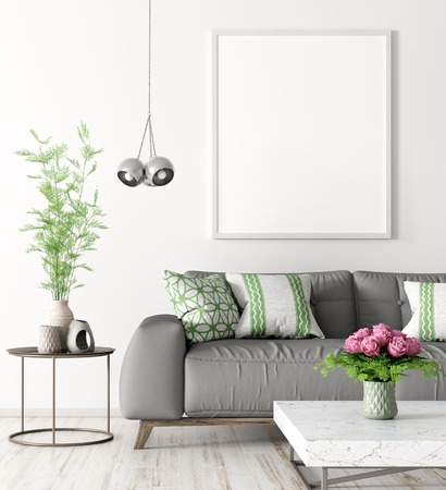 Modern interior of living room with grey sofa, coffee table and mock up poster on the wall 3d rendering 写真素材