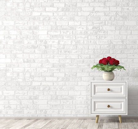 Interior background of living room with white wooden cabinet and vase with bouquet of red roses over brick wall. Home decor. 3d rendering