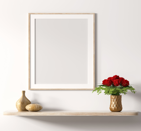 Mock up poster frame above wooden shelf with bouquet of red roses over white wall, interior decoration background 3d rendering 写真素材