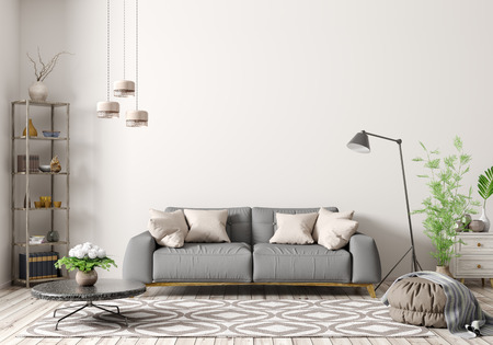 Modern interior of apartment, living room with grey sofa, floor lamp, coffee table and rug 3d rendering