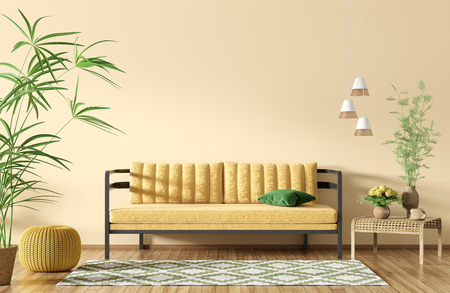 Modern interior of apartment, living room with sofa over yellow wall, coffee table and rug 3d rendering 写真素材