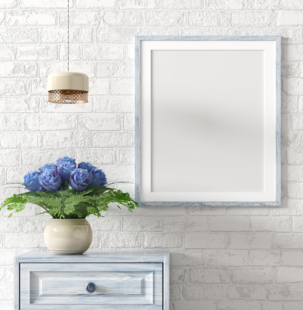 Mock up poster frame above wooden chest with bouquet of blue roses, and light over white brick wall, interior decoration background 3d rendering 写真素材
