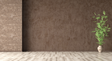Empty room interior background, brown stucco wall, vase with branch on the beige parquet flooring 3d rendering 写真素材
