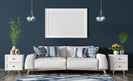 Modern interior of living room with white sofa, chests,poster and lights over blue wall 3d rendering