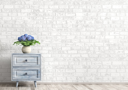 Interior background of living room with blue wooden cabinet and vase with bouquet of roses over white brick wall. Home decor. 3d rendering 写真素材