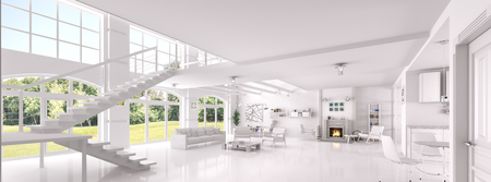 Interior of white living room, dining room, lounge area with fireplace, panorama 3d rendering