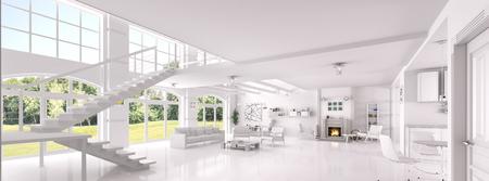 Interno del soggiorno bianco, sala da pranzo, area lounge con camino, rendering 3d panorama