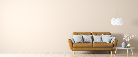Interior of living room with orange sofa on the beige hardwood floor, coffee table and light, panorama 3d rendering