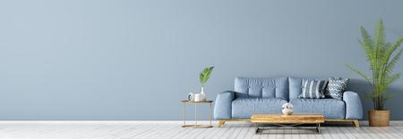 Wnętrze salonu z niebieską sofą na białej drewnianej podłodze, stoliku kawowym i dłoni, panorama renderowania 3d