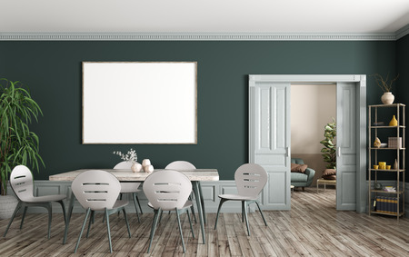 Interior of modern dining room and living room, wooden table and chairs against green wall with big mock up poster frame, sliding doors 3d rendering