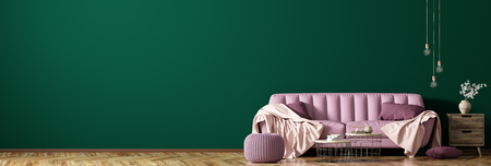Modern interior of living room with pink sofa, coffee tables and plant against dark green wall, panorama 3d rendering 写真素材