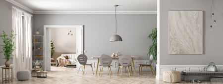 Modern interior of apartment, dining roomwith table and chairs, living room with sofa, hall panorama 3d rendering 写真素材