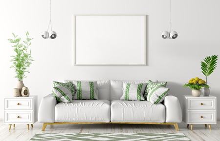 Modern interior of living room with white sofa, chests, poster and lights over white wall 3d rendering 写真素材
