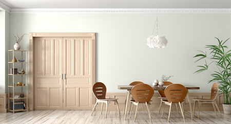 Interior of modern dining room,wooden table and chairs against wall with door 3d rendering 写真素材