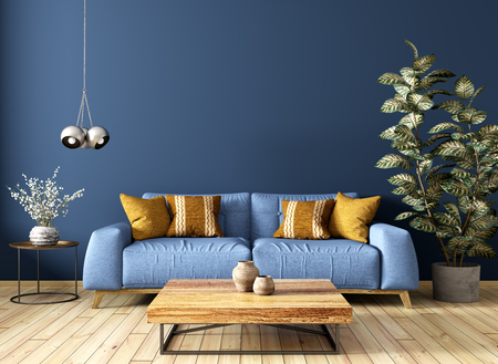 Modern interior design of living room with sofa, wooden coffee table, plant, against blue wall 3d rendering Imagens