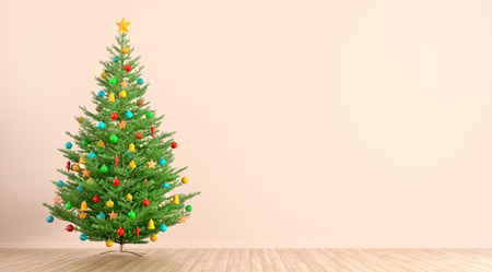 Interior of living room with decorated christmas or new year tree against of peach wall with copy space 3d rendering 写真素材