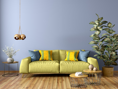 Modern interior design of living room with green sofa, wooden coffee tables, plant, against blue wall 3d rendering Imagens