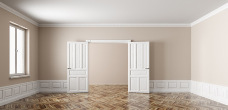 Classic interior of empty apartment with two rooms, opened doors,window, beige walls with white paneling and wooden parquet flooring 3d rendering