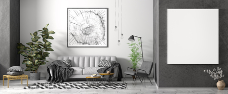 Modern interior design of scandinavian apartment, living room with grey sofa, black armchair, coffee tables and plant, panorama with poster 3d rendering 写真素材