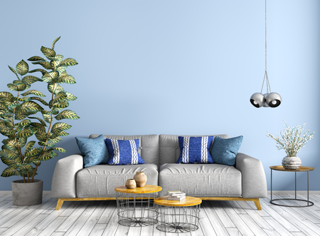 Modern interior design of living room with grey sofa, wooden coffee tables, plant, against blue wall 3d rendering