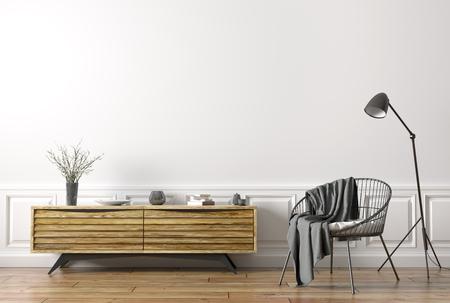 Interior design of modern living room. Wooden sideboard, floor lamp and black armchair 3d rendering