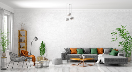 Modern interior design of scandinavian apartment, living room with grey sofa, armchair, coffee tables and plant 3d rendering Foto de archivo