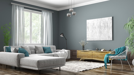 Modern interior design of scandinavian apartment, living room with grey sofa, sideboard and white armchair 3d rendering Stock Photo