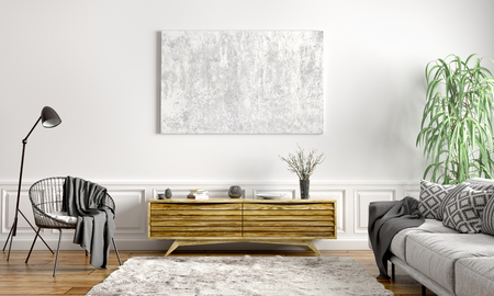 Modern interior design of scandinavian apartment, living room with grey sofa, sideboard and black armchair 3d rendering