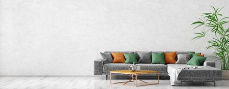 Modern interior design of scandinavian apartment, living room with grey sofa, coffee table and plant, panorama 3d rendering Foto de archivo