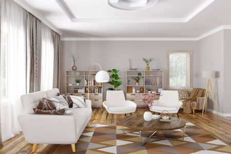 Modern interior design of living room with white sofa, armchairs and coffee table 3d rendering Foto de archivo