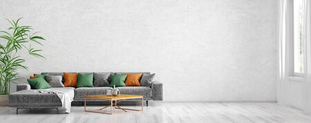 Modern interior design of scandinavian apartment, living room with grey sofa, coffee table and plant 3d rendering