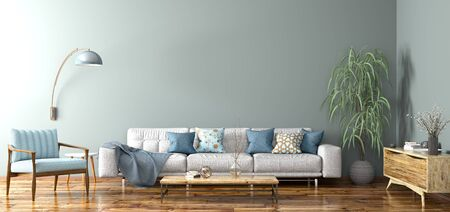 Modern interior design of apartment, living room with grey sofa, sideboard and blue armchair 3d rendering